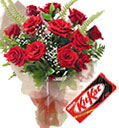 Combo Gifts with  12 Red Roses Bouquet with free Kit- Kat to Chennai Delivery