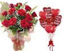 Combo Gifts with 12 RedRoses  & 10Heart Balloons to Chennai delivery