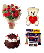 Anniversary Gifts with 12 Red Roses Bunch ,Teddy Assorted Cadburys  & 1Lb Cake to Chennai Delivery