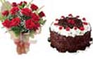 Combo Gifts with 12 Red Roses Bunch , 1Lb Black Forest Cake to Chennai Delivery