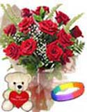 Combo Gifts with 12 Red Roses Bouquet  with Teddy and Love Band to Chennai Delivery