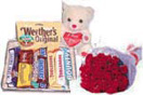 Anniversary Gifts with 12 Red Roses Teddy with Assorted Chocolate Bars to Chennai Delivery