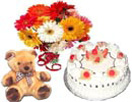 Combo Gifts with 12 Gerbera Bouquet Teddy bear with 1kg Pineapple Cake to Chennai Delivery