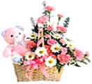 Anniversary Gifts with Mixed Pink flowers with Teddy to Chennai Delivery