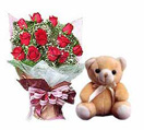 Congratulations with 12 Red Roses Bunch with a Teddy to Chennai Delivery