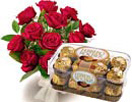 Congratulations with 12 Red Rose Bouquet & 16 Pieces Ferrero Rocher to Chennai Delivery