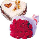 Birthday Gifts with 12 Red Roses Bunch with Heart Shape Cake 1 Lb to Chennai Delivery