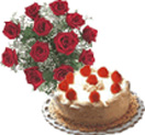 Combo Gifts with 12 Red Roses Bunch with Black Forest Cake 1 Lb to Chennai Delivery