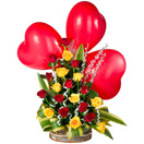 Combo Gifts with 20 Mixed Roses Arrangement with three Red Heart Shaped Balloon to Chennai Delivery