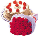 Combo Gifts with 12 Red Rose Bunch with 1/2 kg Black Forest Cake to Chennai Delivery