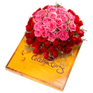Combo Gifts with 50 Pink and Red Roses with Cadbury Celebration Pack to Chennai Delivery