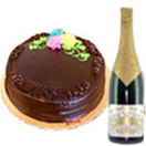 Combo Gifts with ImportedChampagne and 1 Lbs. Chocolate Cake to Chennai Delivery