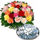 Combo Gifts with  1 Kg. Kaju Barfi with 24 Mixed Roses Bouquet to Chennai Delivery