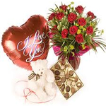 send valentine gifts with 12 Red Rose Bouquet with Teddy, I love U Balloon and Chocolates to chennai delivery