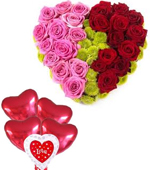 send valentine gifts with 25 Red and Pink Roses in Heart Shape Arrangement with 5 I Love U Balloons to chennai delivery.