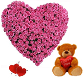 send valentine gifts with 100 Pink Rose in Heasrt Shape Arrangement with I Love U Teddy to chennaidelivery.