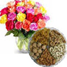 1 Kg. Assorted Dry Fruits with Bouquet of 24 Mixed Colour Roses Combo to Chennai Delivery