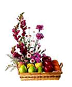 Exotic Fruits and Mixed Flowers in a Basket to Chennai Delivery