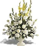 White flowers with glads and roses in a Vase for Condolence to Chennai Delivery