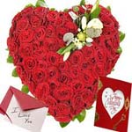 100 Red Roses Flowers in Heart Shape to Chennai Delivery