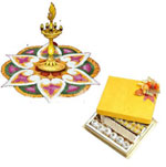Send Pongal Gifts with Kuthu Vilakku and 1 Kg Assorted Sweets to Chennai Delivery