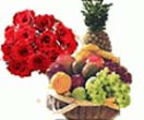 3 Kg. Fresh Fruit Basket with 12 Rose Bouquet to Chennai Delivery