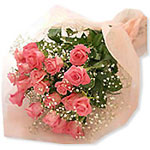 Send 18 Pink Rose Flowers Bouquet to Chennai Delivery.
